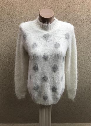 Белый,пушистый в горохи свитер,кофта,гольф,водолазка,акрил+альпака.maddison