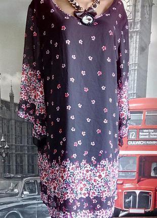 Сукня туніка в дрібну квіточку, на підкладці