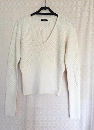 Летний джемпер пуловер бело-молочный sisley made in italy