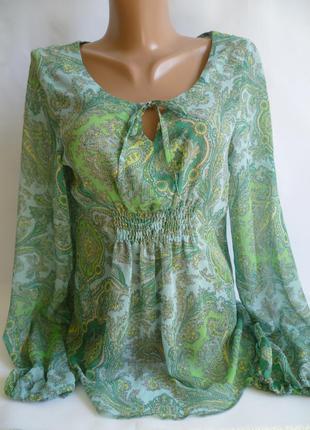 Блуза зелёная шифоновая с принтом огурцы