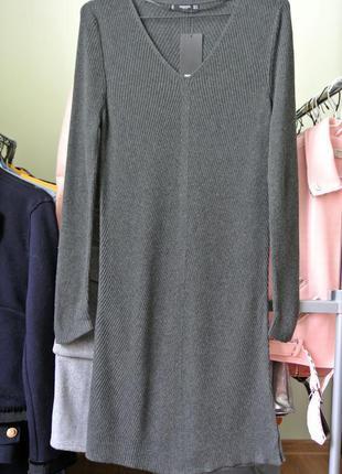 Теплое платье миди в рубчик от mango