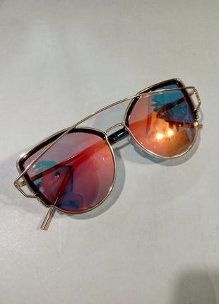 Очки солнцезащитные полузеркальные модные женские металлическая оправа