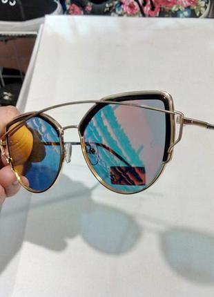 ffa2010d437b ... Очки солнцезащитные полузеркальные модные женские металлическая оправа3  ...