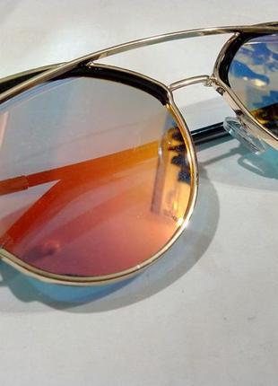 ab1637edeccb ... Очки солнцезащитные полузеркальные модные женские металлическая оправа4  ...