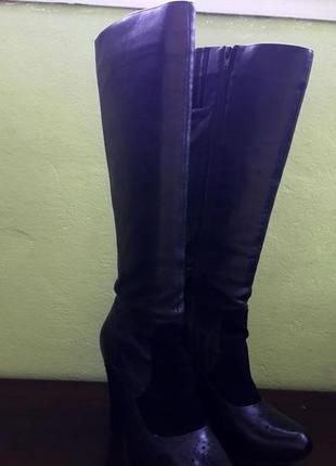 Демисезонные кожанные сапоги braska на каблуке