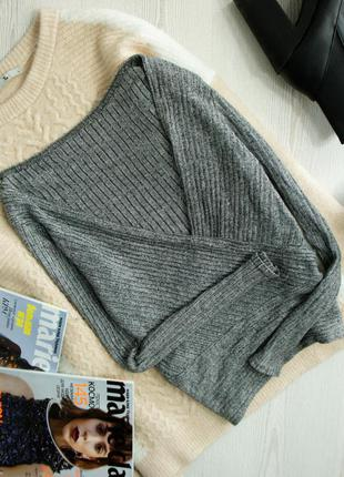 Серый лонгслив джемпер пуловер в рубчик на запах от new look