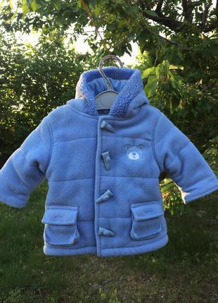 Теплая куртка-пальто  от george 0-3 мес,небесного цвета  !
