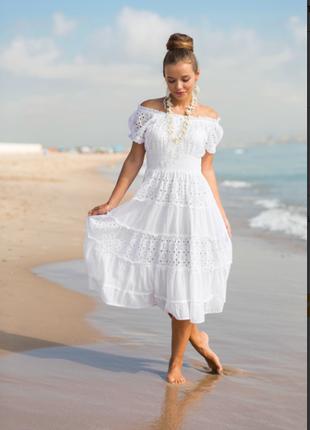 Белое платье-сарафан по плечам из хлопка indiano, fresh-cotton 645 f, s