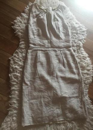 Идеальное бежевое  платье миди лён