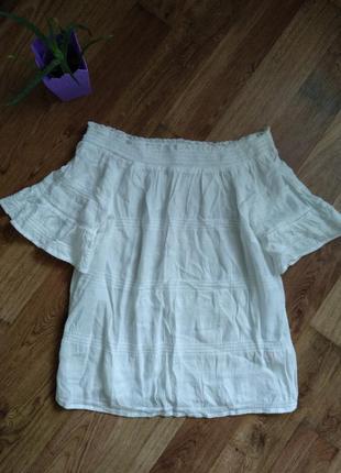 Хлопковая блуза открытые плечи