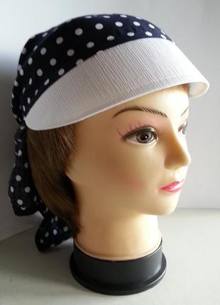 Бандана  женская. штапель белые горохи синем фоне.  ручная работа. цена: 135 гр.