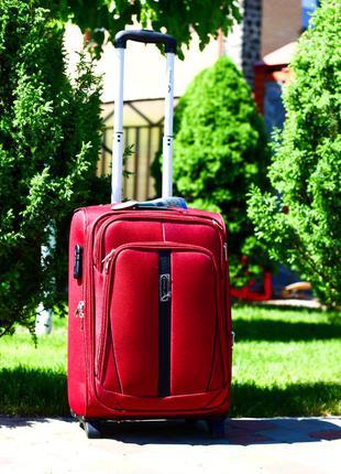Качество! бордовый чемодан текстильный маленький ручная кладь валіза ручна поклажка