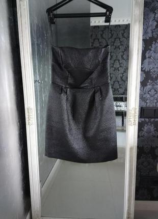 Axara paris оригинал платье мини коктейльное нарядное эффект кожаное