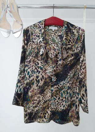 Роскошная блуза с рюшей прямой силуэт