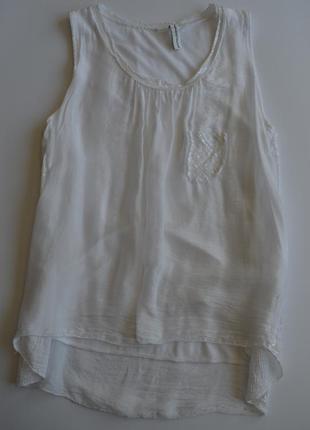 Белая летняя блуза майка с паетками s/m
