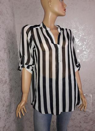 Блузка рубашка  в полоску размер 12-14