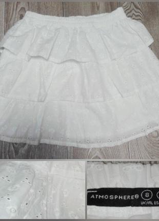 Юбка белая кружевная выбитая ткань