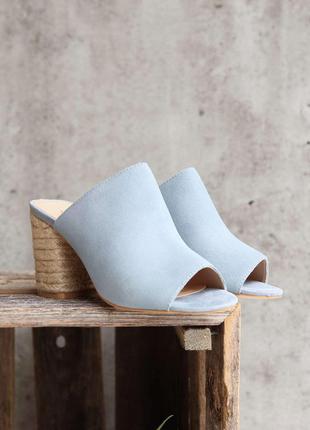 Sbicca оригинал нежно-голубые замшевые мюли сабо на каблуке бренд из сша