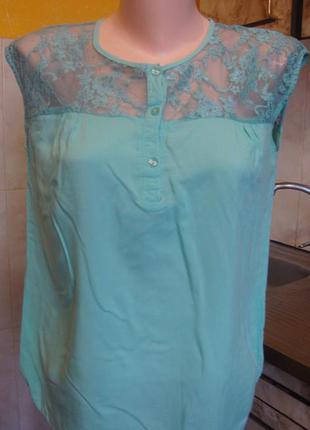 Блузка мятная vero moda s 100%вискоза