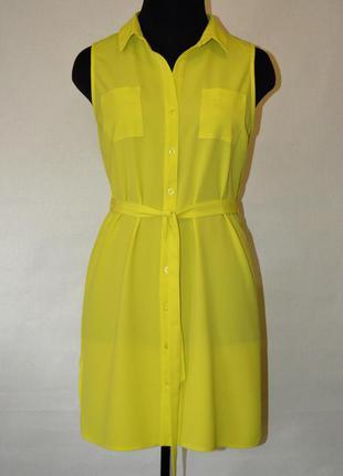 Лимонное платье-рубашка f&f