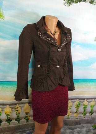 Красивая курточка- пиджак: стразы, кружево, вышивка! 42р