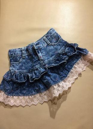 Джинсовая юбка с кружевом sanikids рост 92/98
