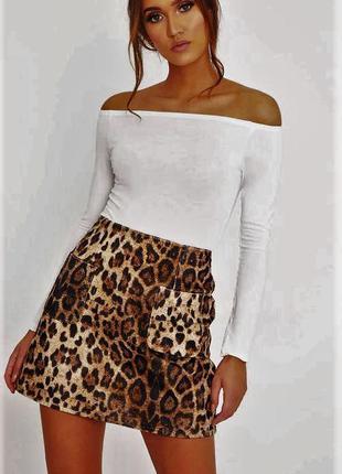Игривая юбочка леопардовая.модель трапеция