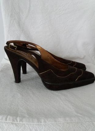 Туфли с открытой пяткой, замшевые