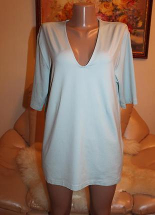 Удлиненная блуза бирюзового цвета, размер m l в наличии best connection