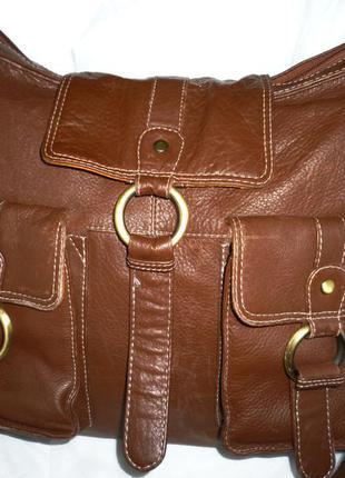 Стильная большая сумка натуральная кожа tommy & kate англия