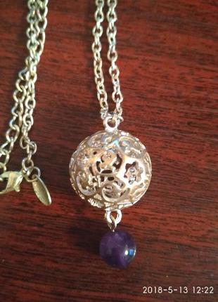 Красивый кулон цепочка натуральный камень (yyves rocher)
