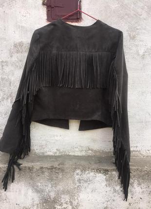Замшевая куртка курточка с бахромой h&m
