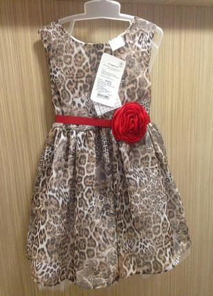 """Нарядное платье для девочки """"леопардовый микс"""", garden baby."""