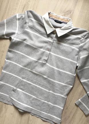 Пуловер кофта рубашка серая с белыми горизонтальными полосками gant