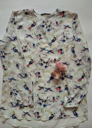 Трендовая блузка из вискозы от esprit длинный рукав принт птички р.м-l