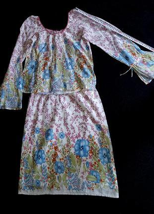 Летний костюм (блуза, юбка)100% коттон, sisley