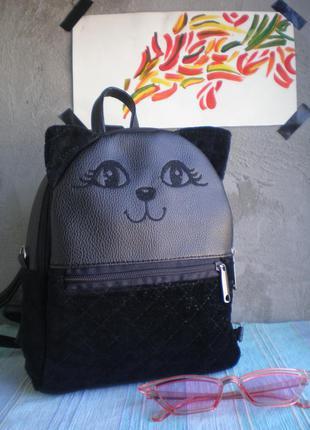 """Бархатный рюкзак handmade """"кошечка"""""""