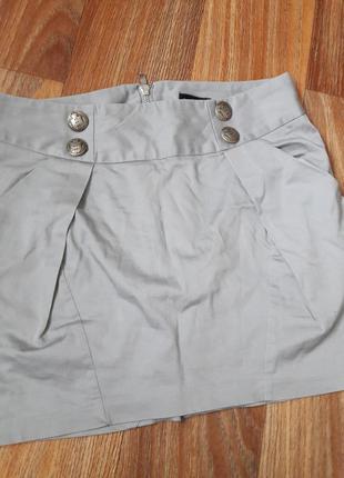 Юбка под классику серая с карманами1