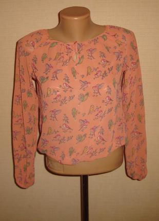 New look шифоновая блузка нью лук на 12 лет с птичками