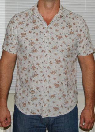 Рубашка серая с цветочным рисунком