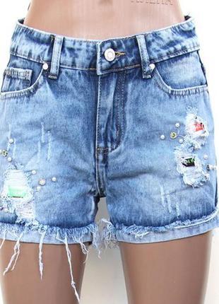 Женские джинсовые шорты рванка и бусины р  26