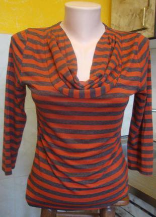 Блузка оранжево-серая полоска phase eight разм 8 xs/s 96%виск, 4%элас