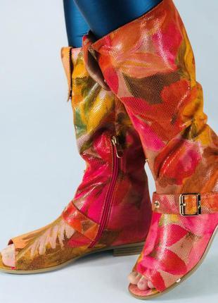 Сапожки летние pink. открытый носок. лазерная обработка. р.36-41