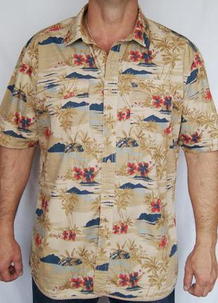 Рубашка горчичная с гавайским рисунком