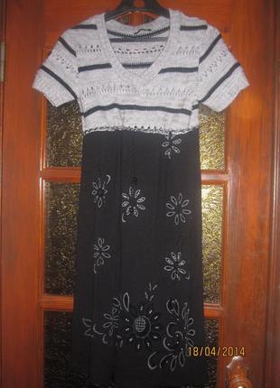 Платье с вязаным шерстяным верхом