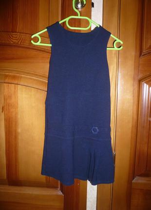 Сарафан школьный трикотаж  синий m&s спенсер 5-6 лет 116 см