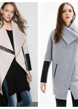 Демисезонное пальто bershka cо вставками из эко-кожи