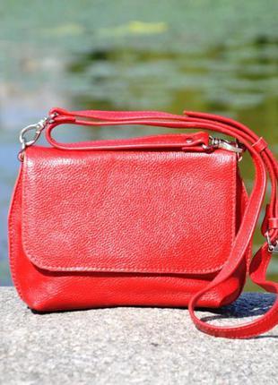 Кожаный красный женский клатч в разных цветах