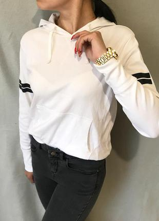 Белоснежное худи, свитшот, толстовка с капюшоном new look
