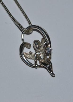 Кулон подвес ангел в сердце фианит серебро 925 проба украина винтаж вес 4,74 грамм